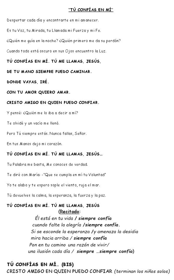Letra de la canción CONFÍA